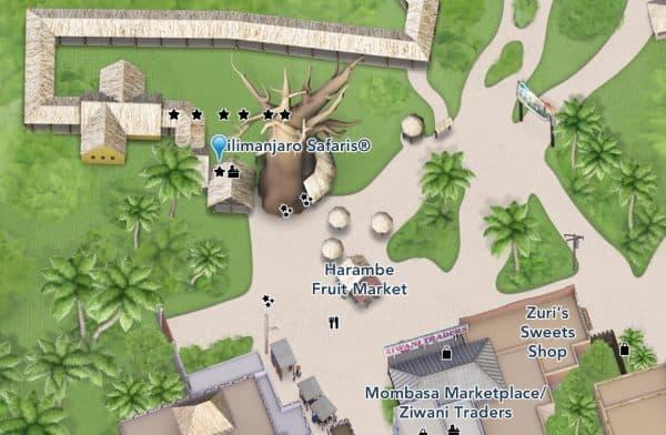 kilimanjaro safaris location on animal kingdom map