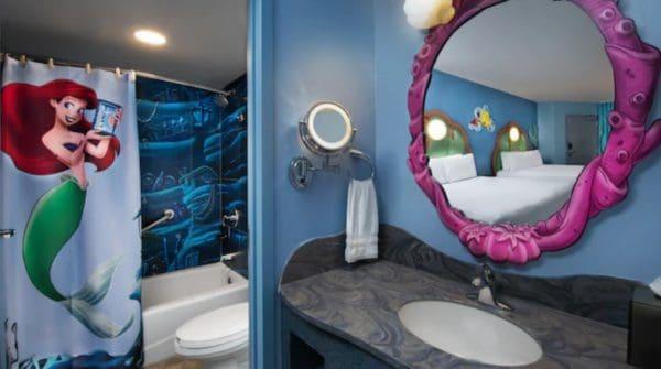 Standard Little Mermaid room and bathroom at Art of Animation