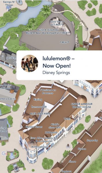Lululemon location on map at Disney Springs