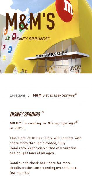 Disney Springs M&M's store delay