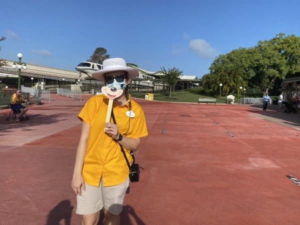 Cast Member with a mask