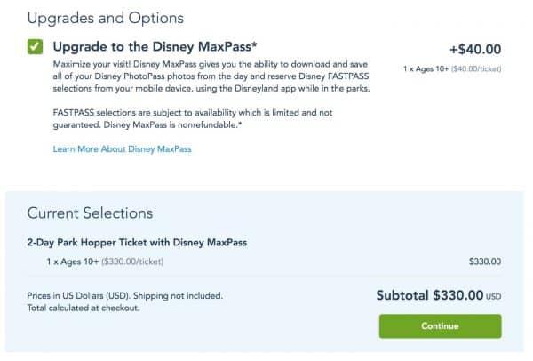 2020 Disneyland MaxPass price