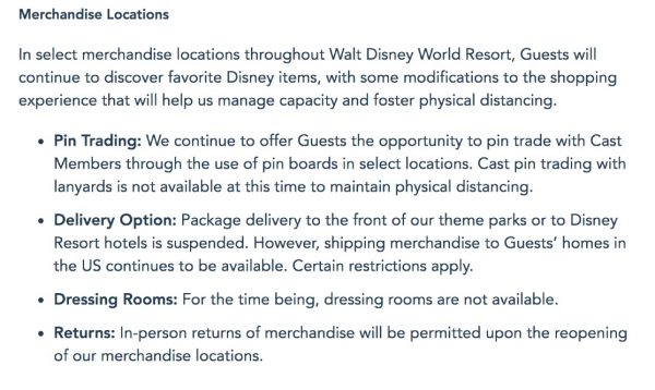 WDW reopening protocols for merchandise locations