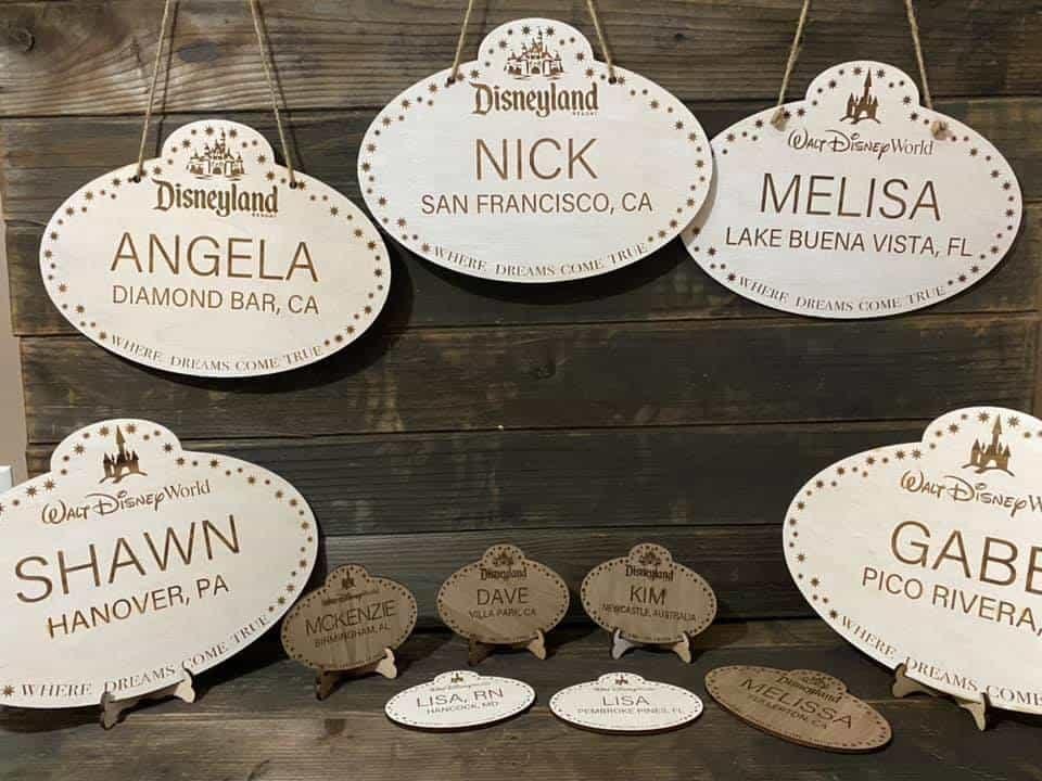 millan made disney nametag wood