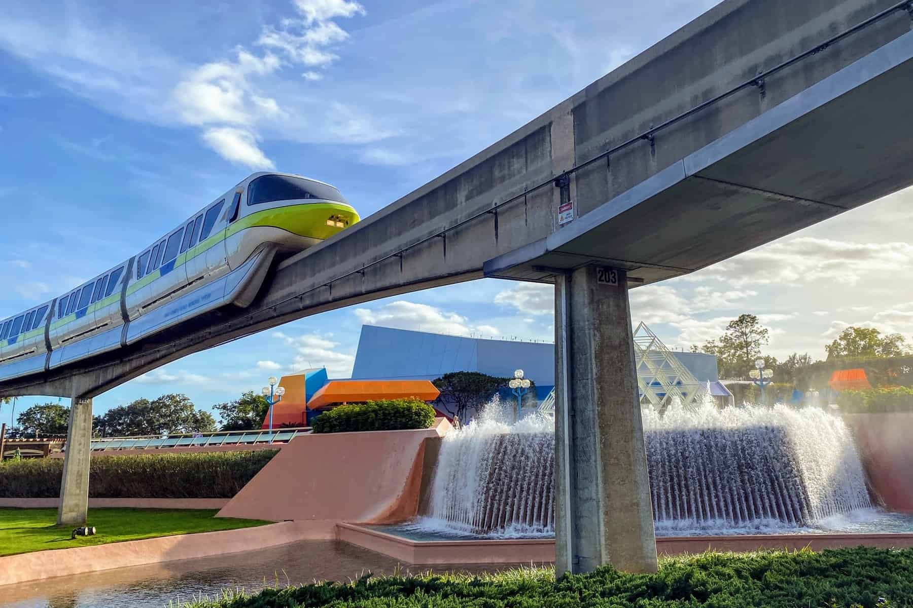 Monorail passing through Epcot