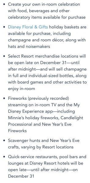 New Year's Eve events at Walt Disney World resorts in 2020