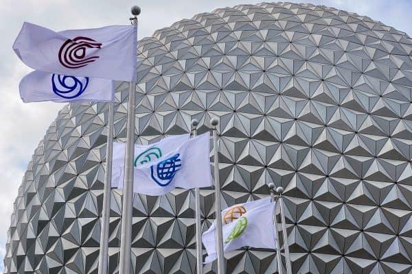 Epcot flags at entrance