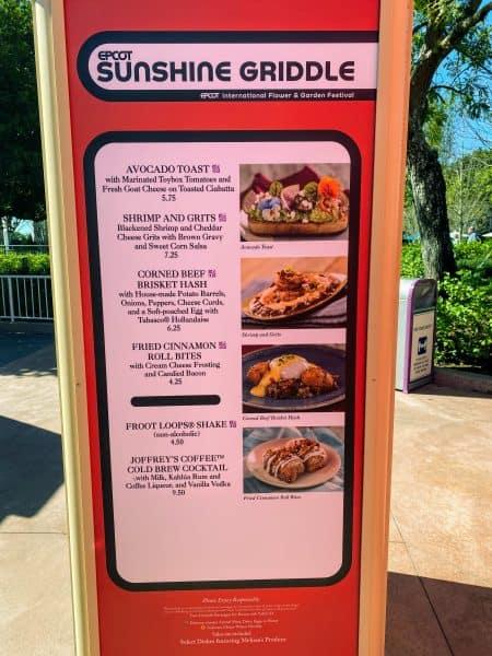 Sunshine Griddle menu