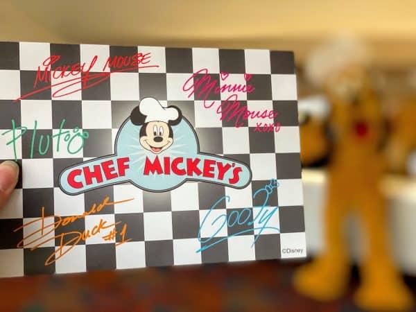 Chef Mickey's autograph card