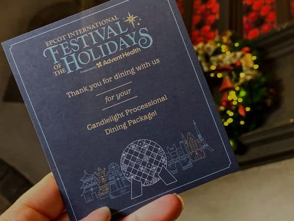 Candlelight Processional Dining Package flyer