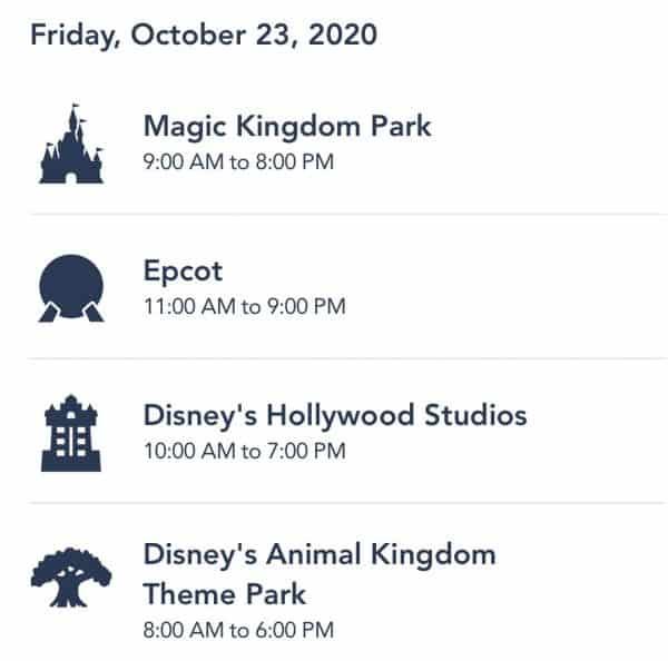 Walt Disney World park hours for October 23, 2020