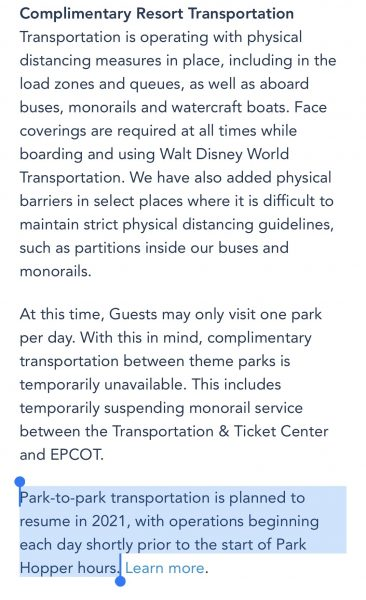 Park-to-Park transportation set to resume at Walt Disney World