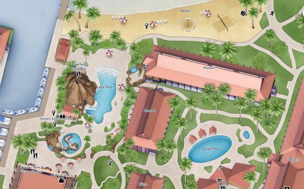 Map of pools at Polynesian Villas and Bungalows