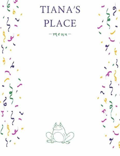 Tiana's Place menu