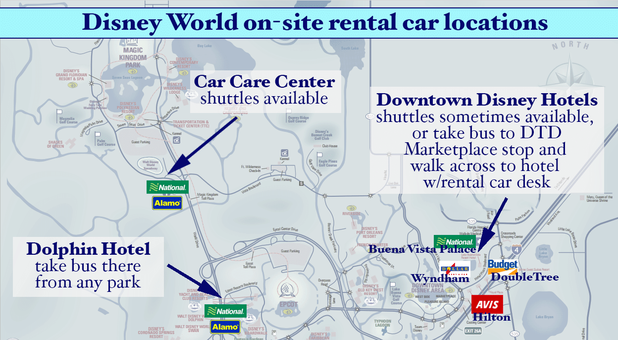 rentalcarmap1 - Adding Kennedy Space Center to a Disney World trip
