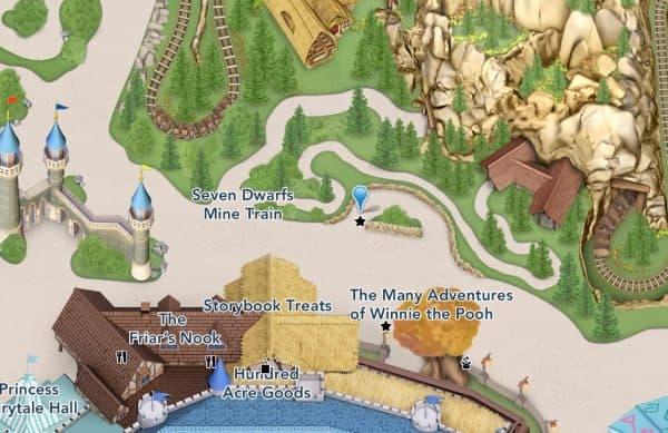 Seven Dwarfs Mine Train on Magic Kingdom map