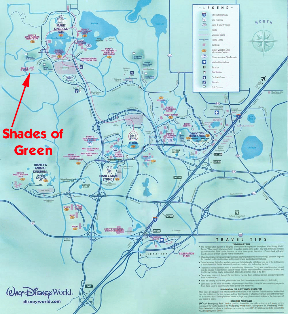 shadesofgreenwdwmap - A review of Shades of Green Resort