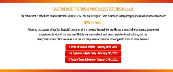 2021 food and wine events at Swan and Dolphin