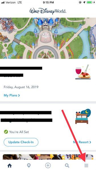 My Disney Experience home screen