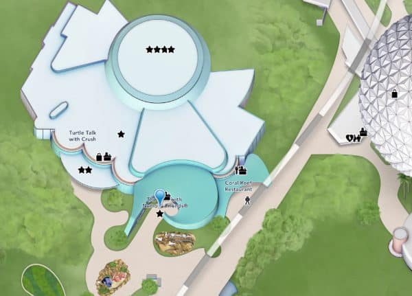 the seas pavilion location on the epcot map