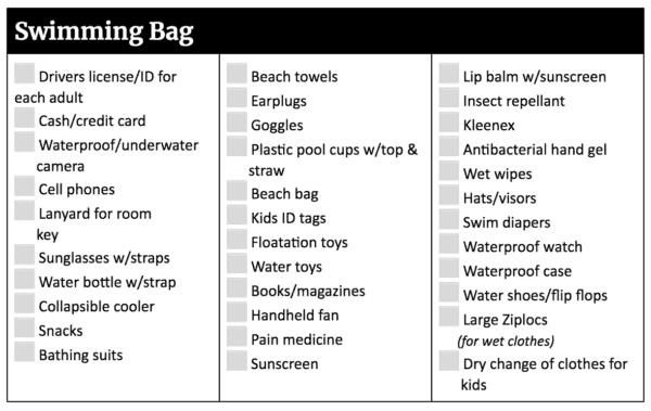Disneyland Packing List - Swimming Bag