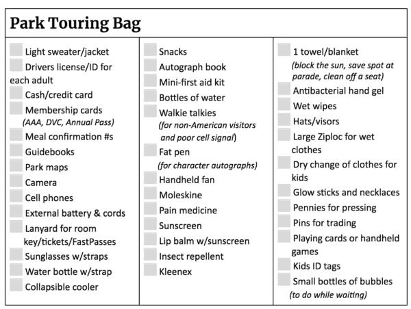 Disneyland Packing List - Park Touring Bag