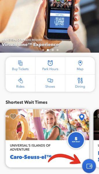 universal orlando app main menu