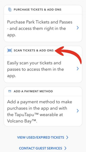 universal orlando app scan ticket