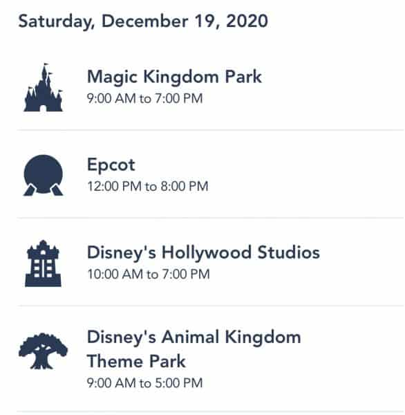Walt Disney World park hours for December 19