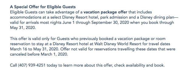 Walt Disney World recovery dining offer
