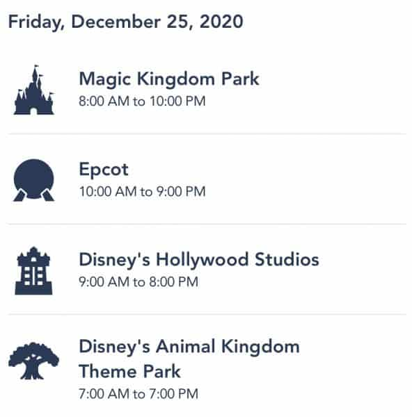 WDW park hours for Dec. 25, 2021