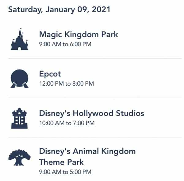 WDW Park Hours for Jan. 9, 2021