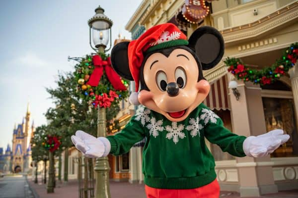 Mickey in his holiday sweater at Magic Kingdom