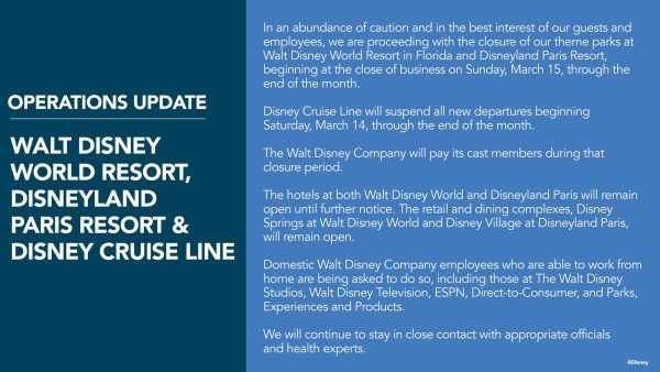 Walt Disney World coronavirus closing statement