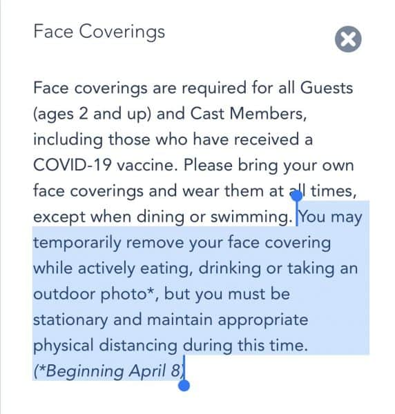 wdw face covering policy update