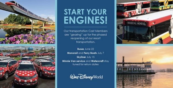 Walt Disney World transportation reopening dates