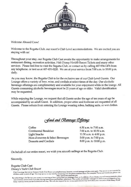 Club level welcome letter