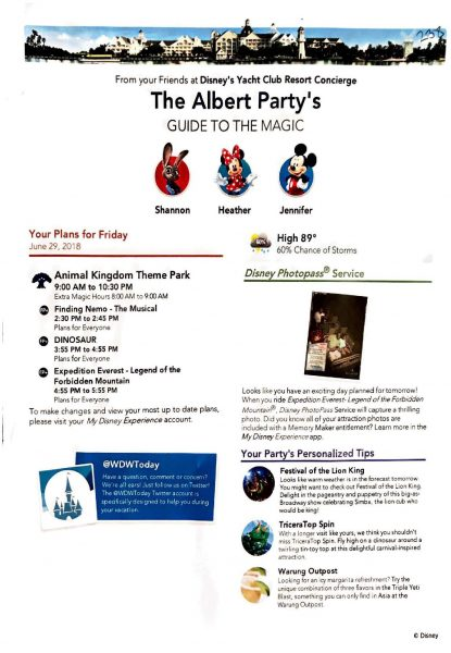 Club level daily itinerary