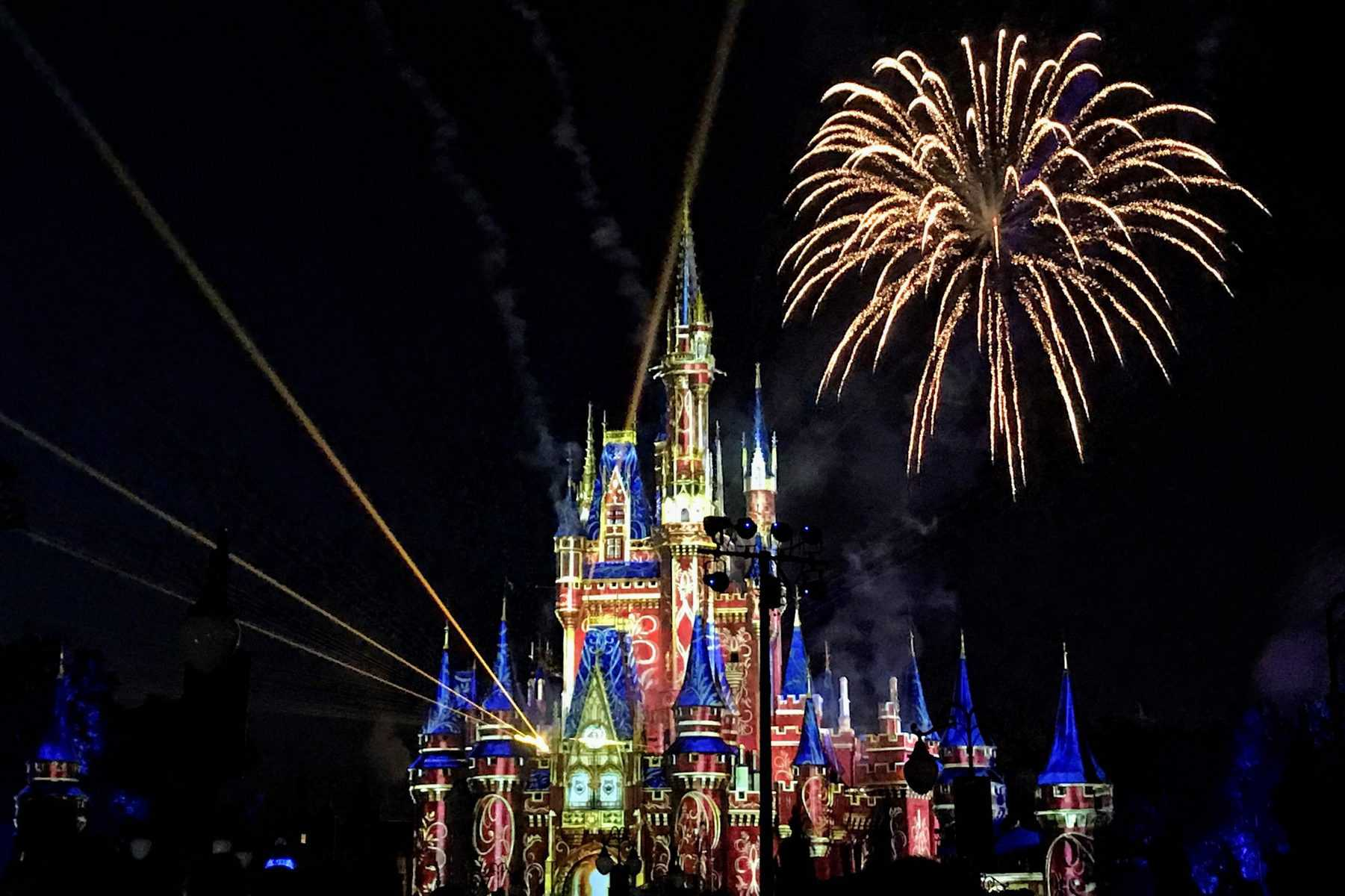 Nighttime fireworks happily ever after