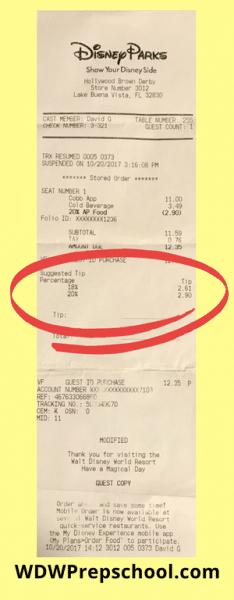 Receipt What to tip at Disney World