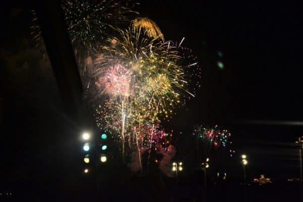 view of fireworks from Ohana