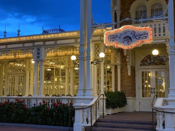 Tony's Town Square at Magic Kingdom has outdoor seating