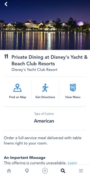 In-room dining at Yacht Club