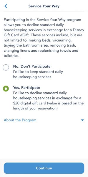 Service Your Way program on My Disney Experience